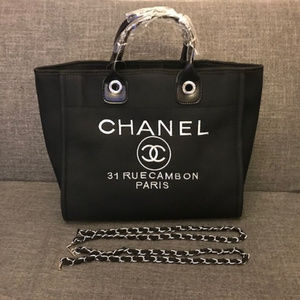 Chanel Canvas Tote Bag Shoulder bag VIP Black New